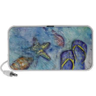 Sandalias de Sanibel - arte del tema de la playa Notebook Altavoz