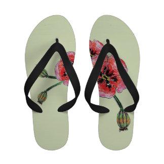 Sandalias del flip-flop del arte de la amapola