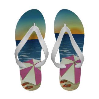 Sandalias del flip-flop del parasol de playa de la