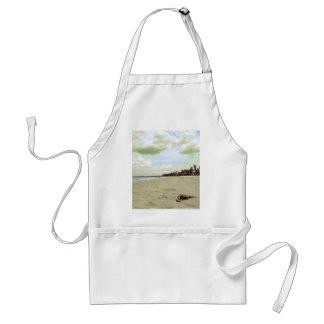 Sandalias en la playa tropical delantal