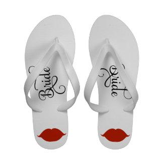 Sandalias nupciales del flip-flop de los labios ro