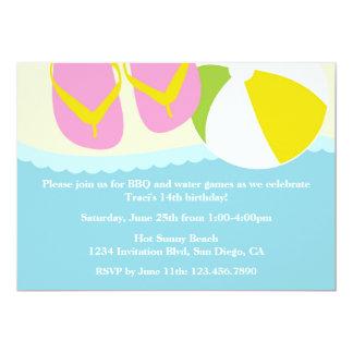 "Sandals and Beach Ball Beach Party Invitation 5"" X 7"" Invitation Card"