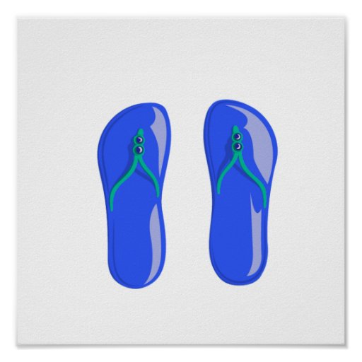 sandals blue beaded strap.png posters