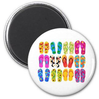 Sandals Colorful Fun Beach Theme Summer 2 Inch Round Magnet