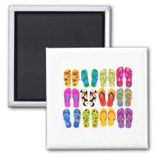 Sandals Colorful Fun Beach Theme Summer 2 Inch Square Magnet