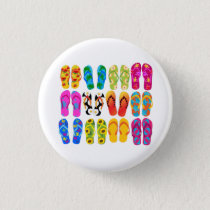 Sandals Colorful Fun Beach Theme Summer Button