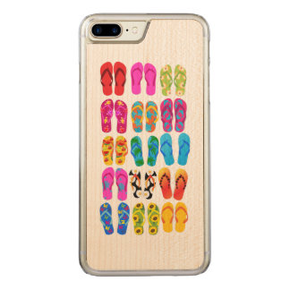 Sandals Colorful Fun Beach Theme Summer Carved iPhone 7 Plus Case