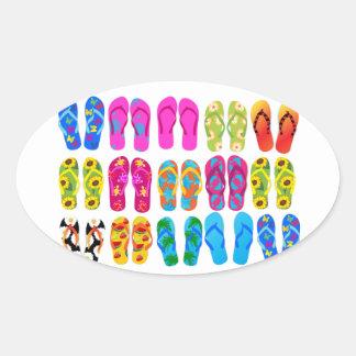 Sandals Colorful Fun Beach Theme Summer Oval Sticker