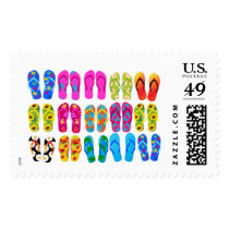 Sandals Colorful Fun Beach Theme Summer Postage