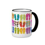 Sandals Colorful Fun Beach Theme Summer Ringer Mug