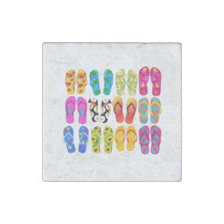 Sandals Colorful Fun Beach Theme Summer Stone Magnet