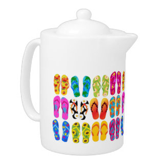 Sandals Colorful Fun Beach Theme Summer Teapot