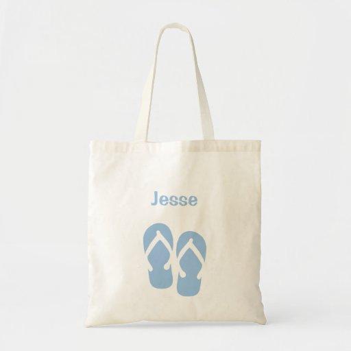 Sandals flip flop summer blue custom name tote bag