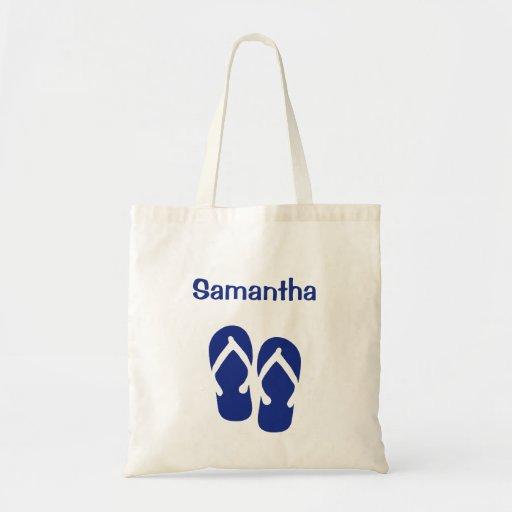 Sandals flip flop summer navy custom name tote bag