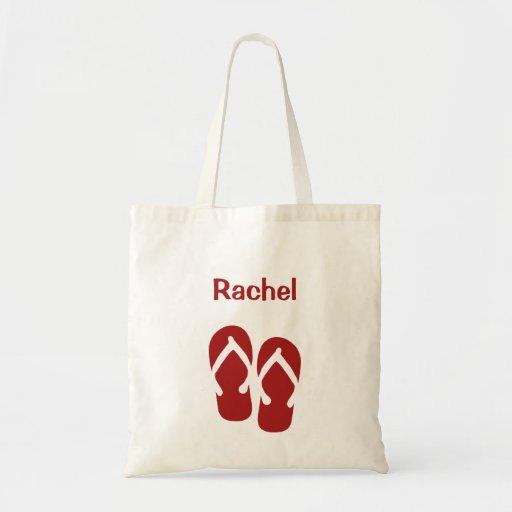 Sandals flip flop summer red custom tote bag
