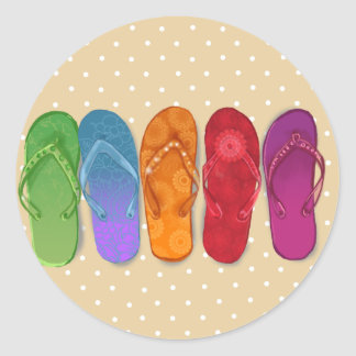 Sandals flip-flops beach party - sand dots classic round sticker