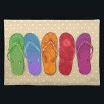 """Sandals flip-flops beach party - sand dots placemat<br><div class=""""desc"""">Bright design for your endless summer!</div>"""