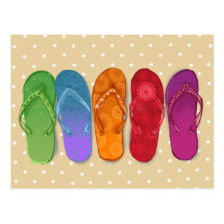 Sandals flip-flops beach party - sand dots postcard