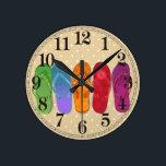 "Sandals flip-flops beach party - sand dots round clock<br><div class=""desc"">Bright design for your endless summer!</div>"