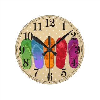 Sandals flip-flops beach party - sand dots round clock