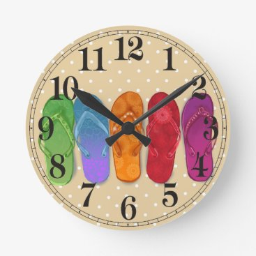 Beach Themed Sandals flip-flops beach party - sand dots round clock