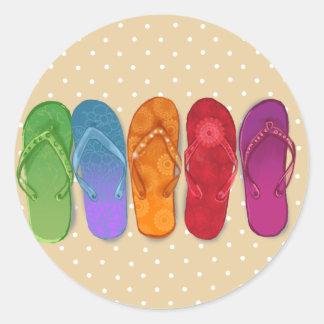 Sandals flip-flops beach party - sand dots round sticker