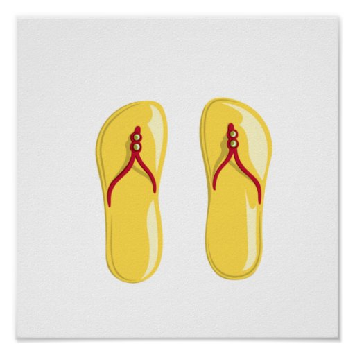 sandals yellow red beaded strap.png poster