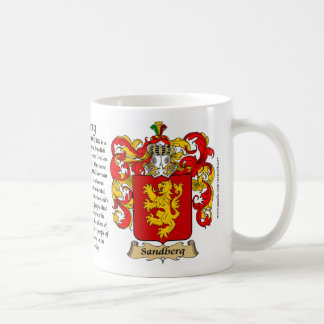 Sandberg, the Origin, the Meaning and the Crest Classic White Coffee Mug