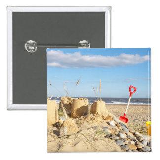 Sandcastle At Beach Button