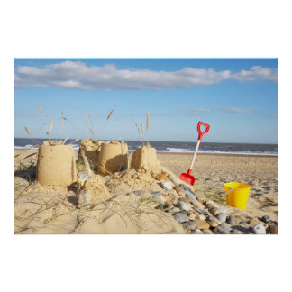 Sandcastle At Beach Poster