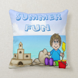 Sandcastle (Boy) Throw Pillow
