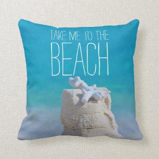 Sandcastle Coral Turquoise Sea Take Me to da Beach Throw Pillows