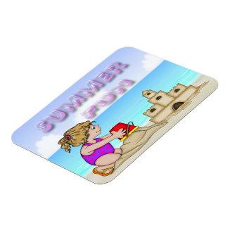"Sandcastle (Girl) Flexible Magnets (4""x3"")"