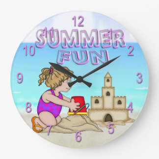 Sandcastle (Girl) Round Wall Clock
