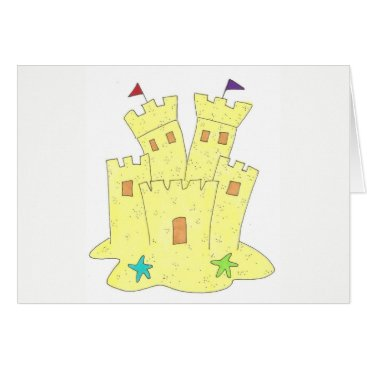 Beach Themed Sandcastle Sand Castle Starfish Shells Beach Ocean Card