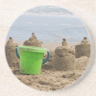 sandcastles on the beach drink coaster