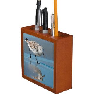 Sanderling Calidris Albe Feeding On Wet Beach Desk Organizer
