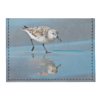 Sanderling Calidris Albe Feeding On Wet Beach Tyvek® Card Case Wallet