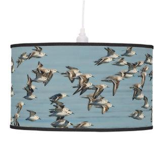Sanderlings Take Flight in the Winter Skies Hanging Lamp