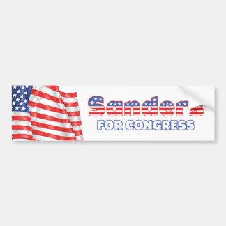 Sanders for Congress Patriotic American Flag Car Bumper Sticker