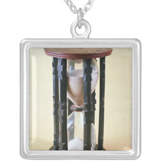 Sandglass, 17th century silver plated necklace