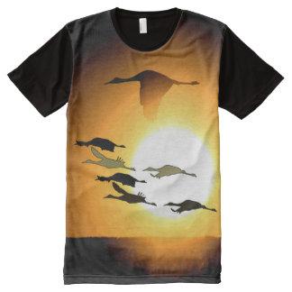Sandhill Crane Birds Wildlife Animal Silhouettes All-Over Print Shirt