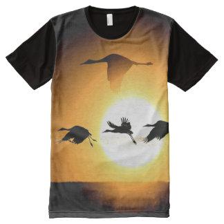 Sandhill Crane Birds Wildlife Animal Silhouettes All-Over Print T-shirt