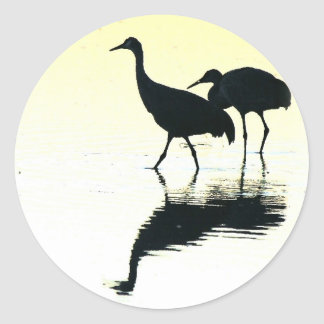 Sandhill Crane Birds Wildlife Animals Classic Round Sticker
