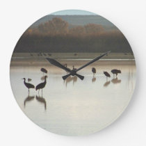 Sandhill Crane Birds Wildlife Animals Clock