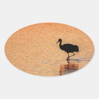 Sandhill Crane, Bosque del Apache Oval Sticker