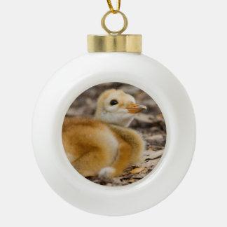 Sandhill Crane Chick Ceramic Ball Christmas Ornament