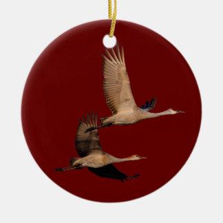 sandhill crane couple ceramic ornament