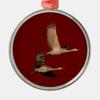 sandhill crane couple metal ornament