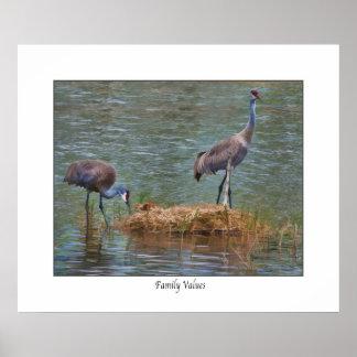 "Sandhill Crane "" Family Values""  Print"